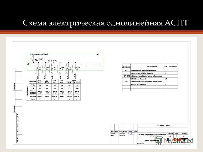 Схема электрическая однолинейная АСПТ