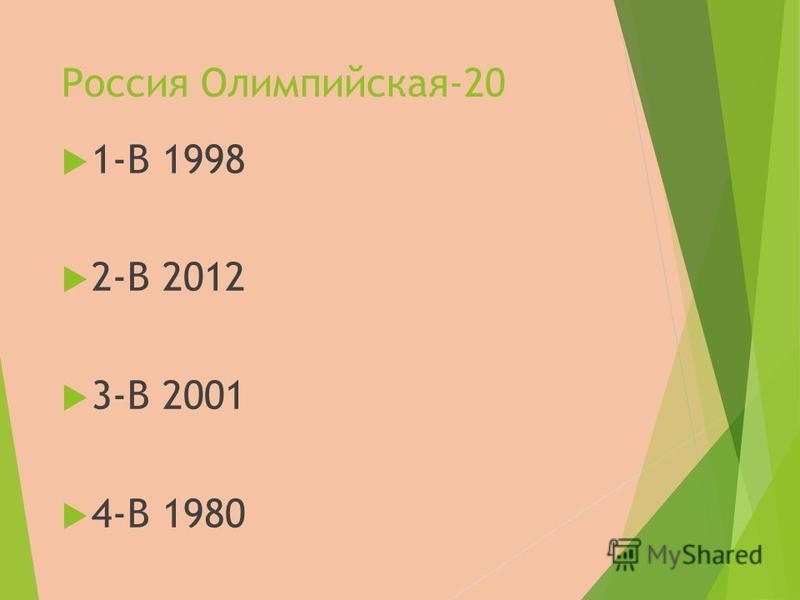 Россия Олимпийская-20 1-В 1998 2-В 2012 3-В 2001 4-В 1980