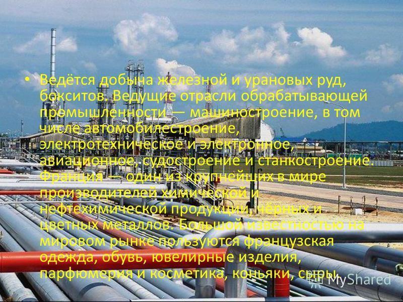 Ведётся добыча железной и урановых руд, бокситов. Ведущие отрасли обрабатывающей промышленности машиностроение, в том числе автомобилестроение, электротехническое и электронное, авиационное, судостроение и станкостроение. Франция один из крупнейших в