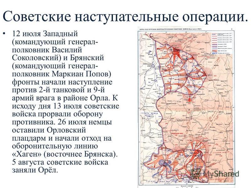 Советские наступательные операции. 12 июля Западный (командующий генерал- полковник Василий Соколовский) и Брянский (командующий генерал- полковник Маркиан Попов) фронты начали наступление против 2-й танковой и 9-й армий врага в районе Орла. К исходу