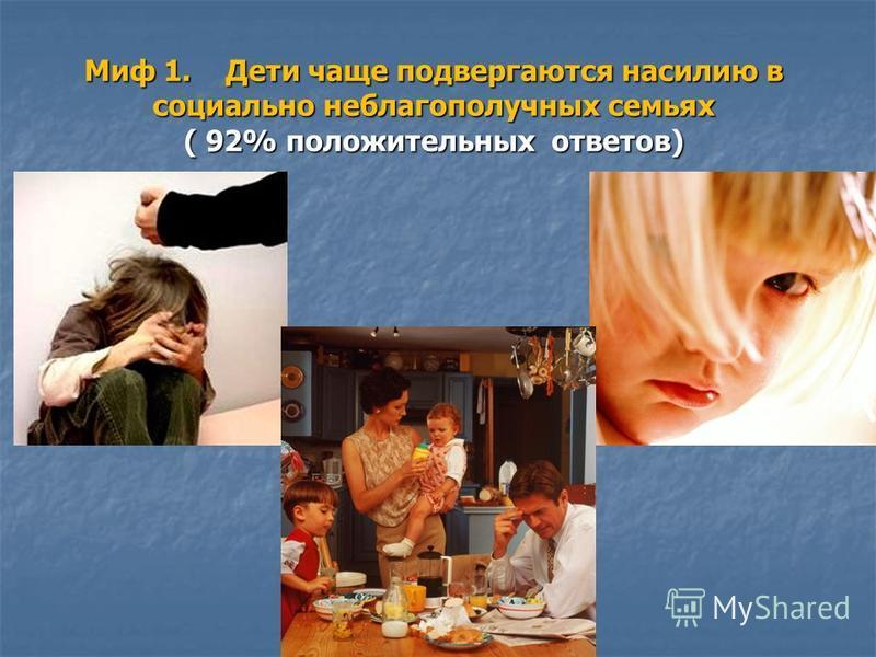Миф 1. Дети чаще подвергаются насилию в социально неблагополучных семьях ( 92% положительных ответов)