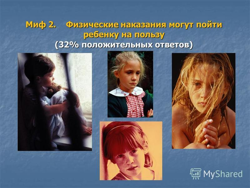 Миф 2. Физические наказания могут пойти ребенку на пользу (32% положительных ответов)