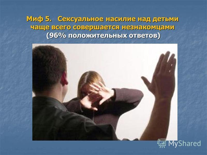 Миф 5. Сексуальное насилие над детьми чаще всего совершается незнакомцами (96% положительных ответов)