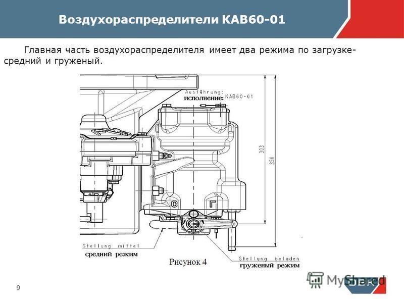 9 Главная часть воздухораспределителя имеет два режима по загрузке- средний и груженый.