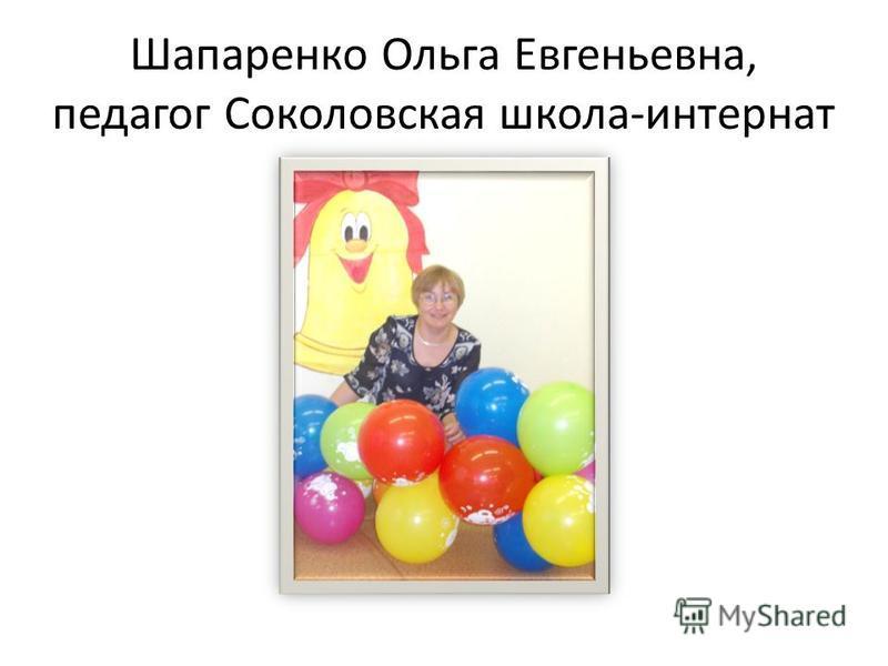 Шапаренко Ольга Евгеньевна, педагог Соколовская школа-интернат