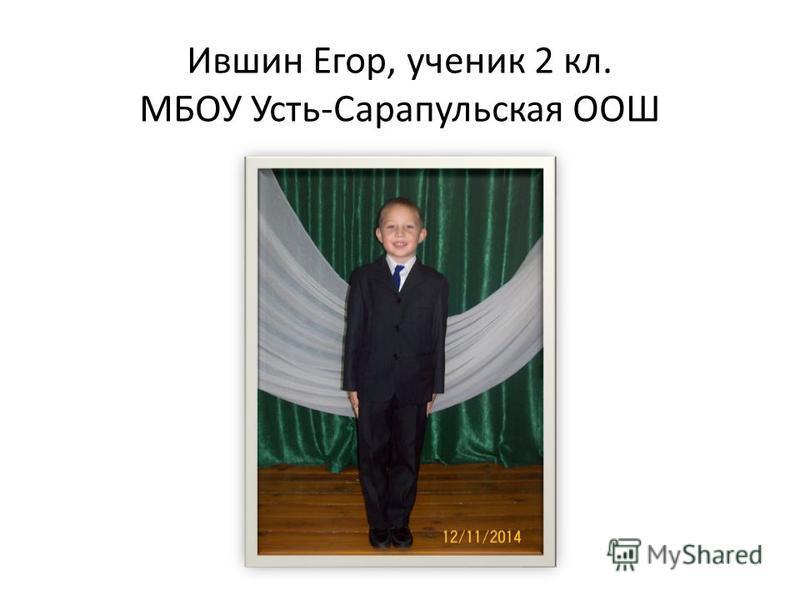 Ившин Егор, ученик 2 кл. МБОУ Усть-Сарапульская ООШ
