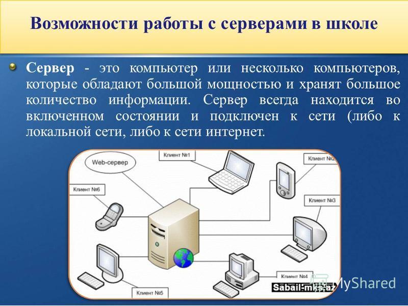 Возможности работы с серверами в школе Сервер - это компьютер или несколько компьютеров, которые обладают большой мощностью и хранят большое количество информации. Сервер всегда находится во включенном состоянии и подключен к сети (либо к локальной с
