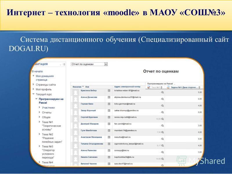 Интернет – технология «moodle» в МАОУ «СОШ3» Cистема дистанционного обучения (Специализированный сайт DOGAI.RU)
