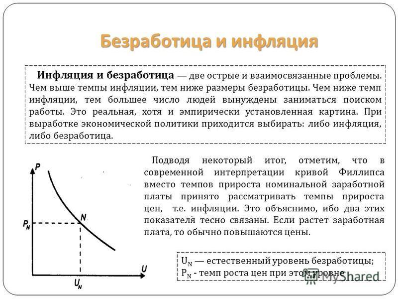 Безработица и инфляция Инфляция и безработица две острые и взаимосвязанные проблемы. Чем выше темпы инфляции, тем ниже размеры безработицы. Чем ниже темп инфляции, тем большее число людей вынуждены заниматься поиском работы. Это реальная, хотя и эмпи