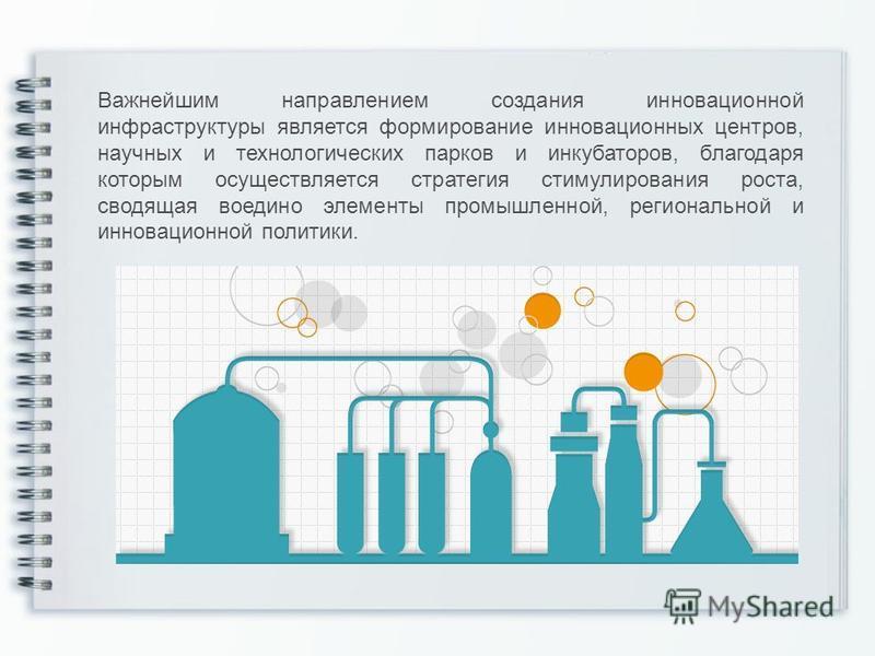 Важнейшим направлением создания инновационной инфраструктуры является формирование инновационных центров, научных и технологических парков и инкубаторов, благодаря которым осуществляется стратегия стимулирования роста, сводящая воедино элементы промы