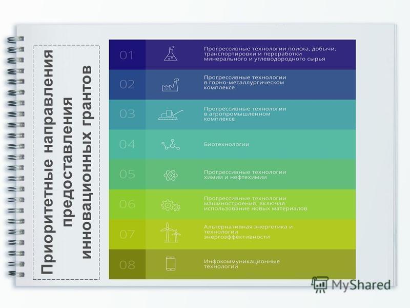 Приоритетные направления предоставления инновационных грантов