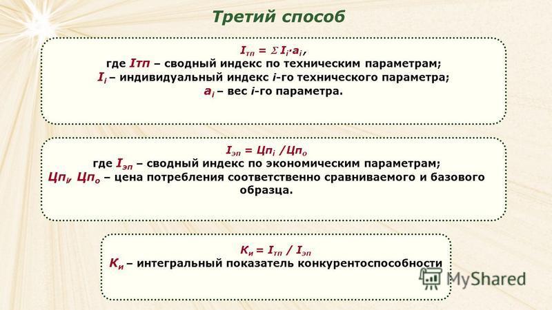 Третий способ I тп = I i a i, где Iтп – сводный индекс по техническим параметрам; I i – индивидуальный индекс i-го технического параметра; a i – вес i-го параметра. I эп = Цп i /Цп о где I эп – сводный индекс по экономическим параметрам; Цп i, Цп о –