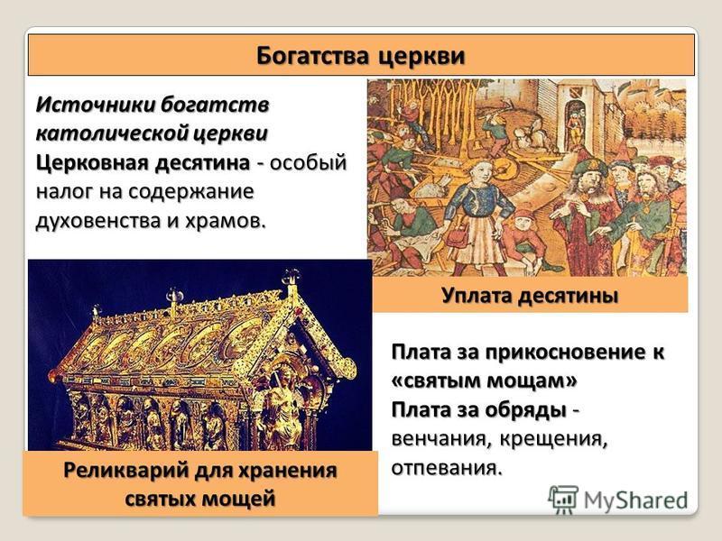 Источники богатств католической церкви Церковная десятина - особый налог на содержание духовенства и храмов. Богатства церкви Плата за прикосновение к «святым мощам» Плата за обряды - венчания, крещения, отпевания. Уплата десятины Реликварий для хран