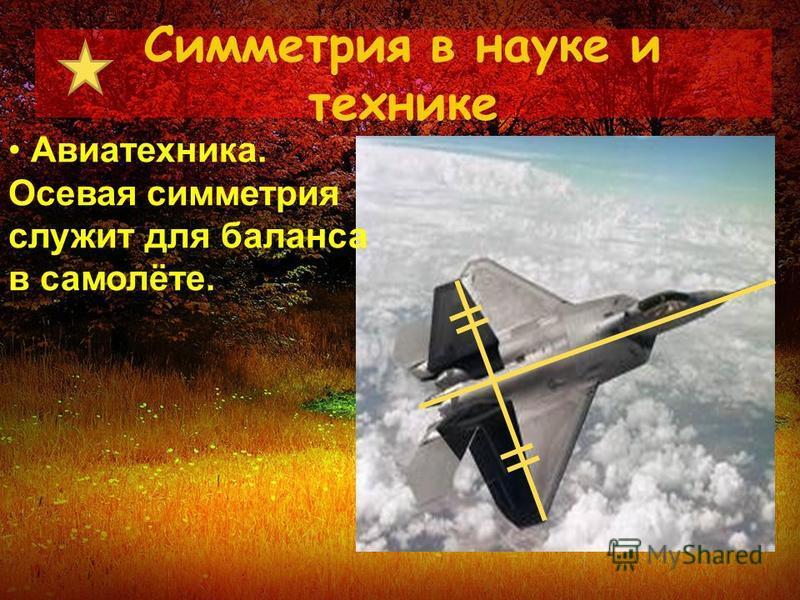 Симметрия в науке и технике Авиатехника. Осевая симметрия служит для баланса в самолёте.