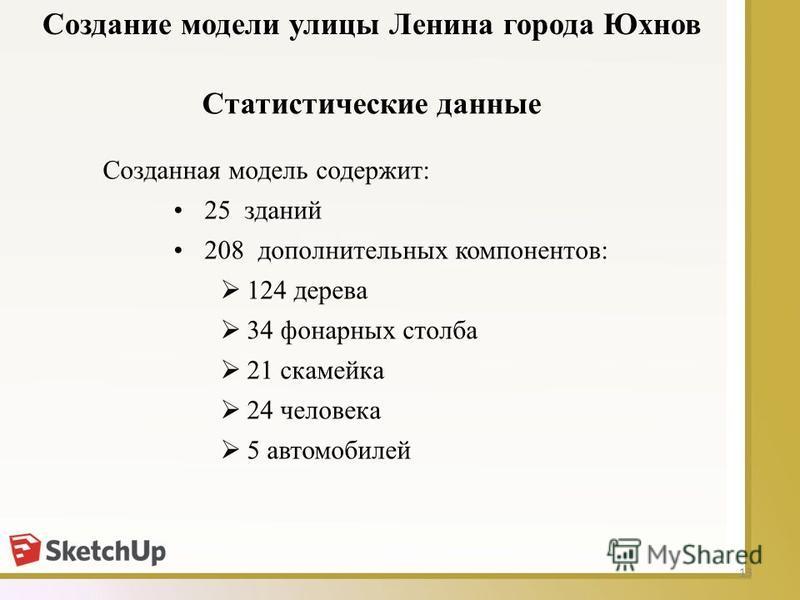 13 Статистические данные Созданная модель содержит: 25 зданий 208 дополнительных компонентов: 124 дерева 34 фонарных столба 21 скамейка 24 человека 5 автомобилей Создание модели улицы Ленина города Юхнов