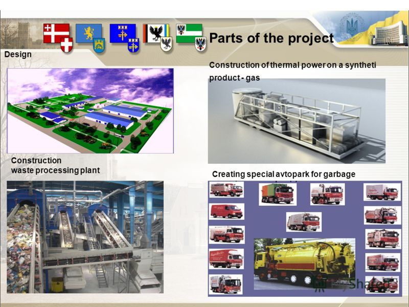 Parts of the project Design Construction of thermal power on a syntheti product - gas Creating special avtopark for garbage Construction waste processing plant
