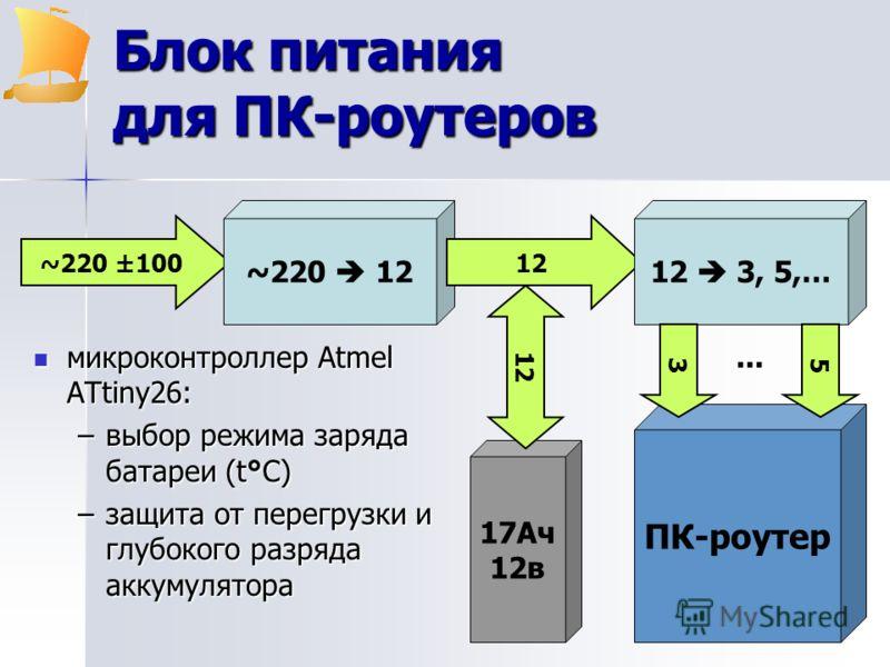 ПК-роутер Блок питания для ПК-роутеров микроконтроллер Atmel ATtiny26: микроконтроллер Atmel ATtiny26: –выбор режима заряда батареи (t°C) –защитa от перегрузки и глубокого разряда аккумуляторa ~220 ±100 ~220 12 12 12 3, 5,… 17Aч 12в 12 53...