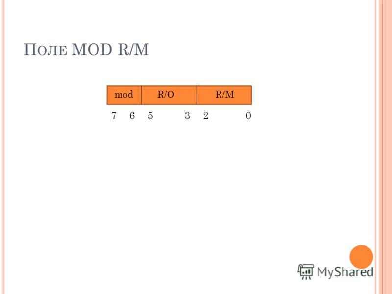 П ОЛЕ MOD R/M 023567 modR/OR/M