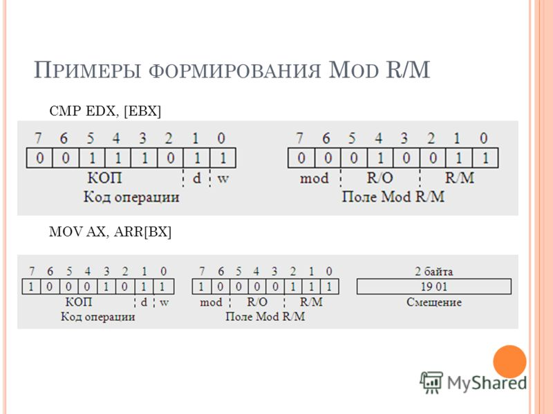 П РИМЕРЫ ФОРМИРОВАНИЯ M OD R/M CMP EDX, [EBX] MOV AX, ARR[BX]