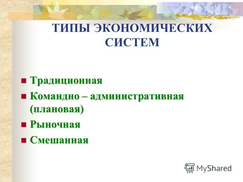 Тема : Типы экономических систем