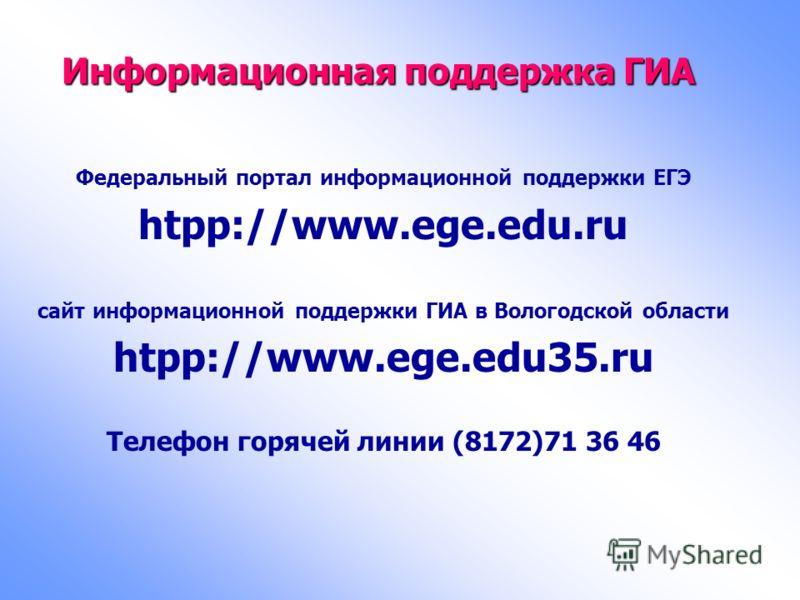 Информационная поддержка ГИА Федеральный портал информационной поддержки ЕГЭ htpp://www.ege.edu.ru сайт информационной поддержки ГИА в Вологодской области htpp://www.ege.edu35.ru Телефон горячей линии (8172)71 36 46