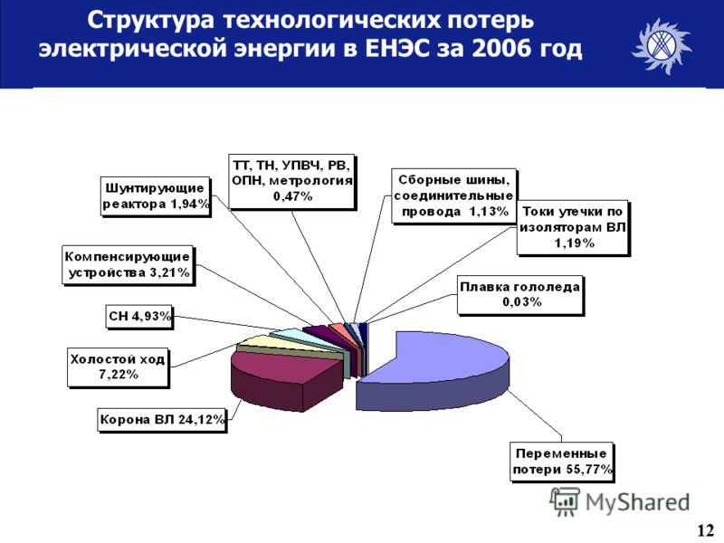 Структура технологических потерь электрической энергии в ЕНЭС за 2006 год 12
