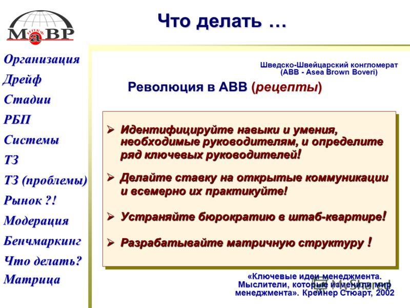 Дрейф ТЗ (проблемы) ТЗ (проблемы) Рынок ?! Рынок ?! РБП Что делать? Что делать? Бенчмаркинг Модерация ТЗ Системы Стадии Организация Матрица Что делать … Шведско-Швейцарский конгломерат (АВВ - Asea Brown Boveri) «Ключевые идеи менеджмента. Мыслители,