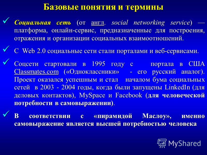 Социальная сеть (от англ. social networking service) платформа, онлайн-сервис, предназначенные для построения, отражения и организации социальных взаимоотношений. Социальная сеть (от англ. social networking service) платформа, онлайн-сервис, предназн