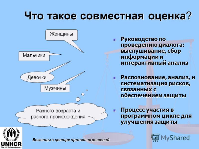 Что такое совместная оценка? Руководство по проведению диалога: выслушивание, сбор информации и интерактивный анализ Руководство по проведению диалога: выслушивание, сбор информации и интерактивный анализ Распознование, анализ, и систематизация риско
