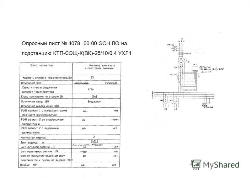 Опросный лист 4078 -00-00-ЭСН.ЛО на подстанцию КТП-СЭЩ-К(ВК)-25/10/0,4 УХЛ1