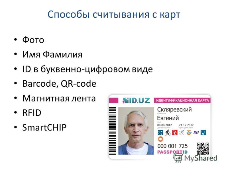 Способы считывания с карт Фото Имя Фамилия ID в буквенно-цифровом виде Barcode, QR-code Магнитная лента RFID SmartCHIP