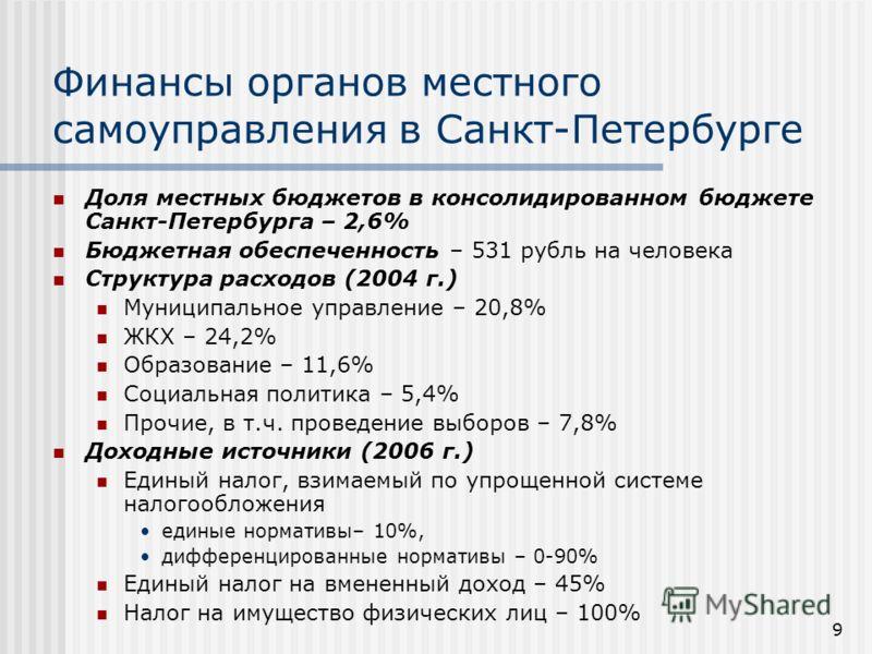 9 Финансы органов местного самоуправления в Санкт-Петербурге Доля местных бюджетов в консолидированном бюджете Санкт-Петербурга – 2,6% Бюджетная обеспеченность – 531 рубль на человека Структура расходов (2004 г.) Муниципальное управление – 20,8% ЖКХ