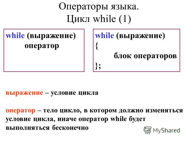 while (выражение) оператор while (выражение) { блок операторов }; выражение – условие цикла оператор – тело цикло, в котором должно изменяться условие цикла, иначе оператор while будет выполняться бесконечно Операторы языка. Цикл while (1)