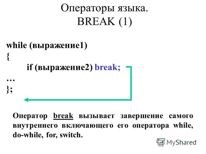 while (выражение1) { if (выражение2) break; … }; Оператор break вызывает завершение самого внутреннего включающего его оператора while, do-while, for, switch. Операторы языка. BREAK (1)