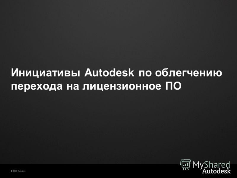© 2008 Autodesk Инициативы Autodesk по облегчению перехода на лицензионное ПО
