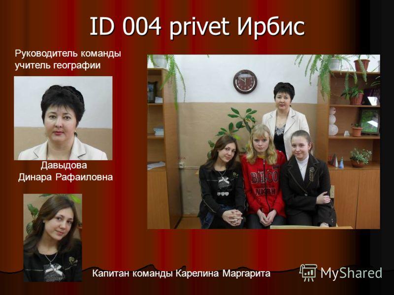 ID 004 privet Ирбис Давыдова Динара Рафаиловна Руководитель команды учитель географии Капитан команды Карелина Маргарита