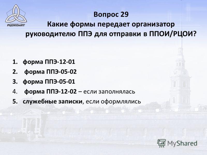 Вопрос 29 Какие формы передает организатор руководителю ППЭ для отправки в ППОИ/РЦОИ? 1.форма ППЭ-12-01 2. форма ППЭ-05-02 3.форма ППЭ-05-01 4. форма ППЭ-12-02 – если заполнялась 5.служебные записки, если оформлялись