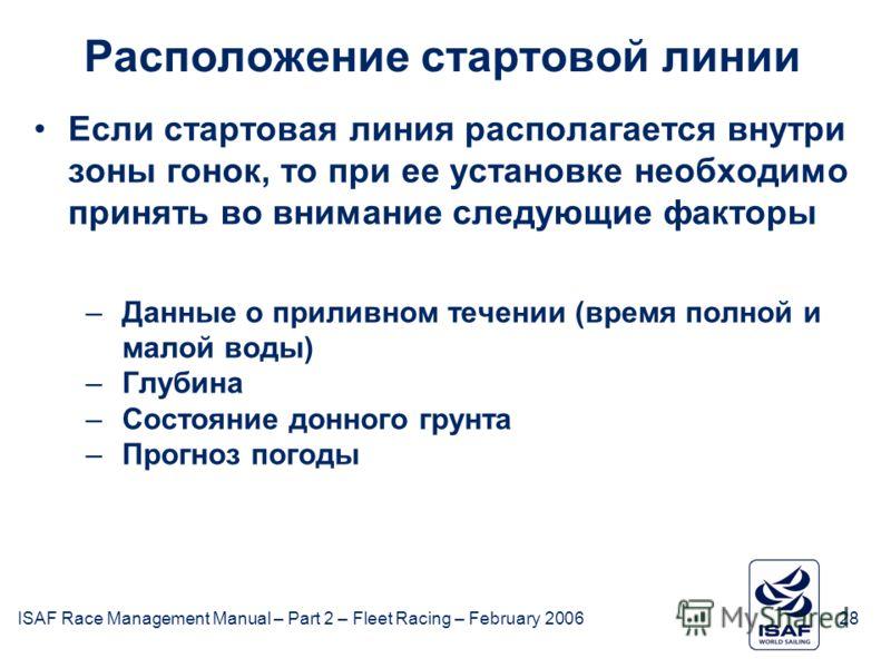 ISAF Race Management Manual – Part 2 – Fleet Racing – February 200628 Расположение стартовой линии Если стартовая линия располагается внутри зоны гонок, то при ее установке необходимо принять во внимание следующие факторы –Данные о приливном течении