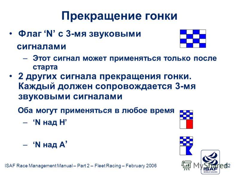 ISAF Race Management Manual – Part 2 – Fleet Racing – February 200652 Прекращение гонки Флаг N с 3-мя звуковыми сигналами –Этот сигнал может применяться только после старта 2 других сигнала прекращения гонки. Каждый должен сопровождается 3-мя звуковы