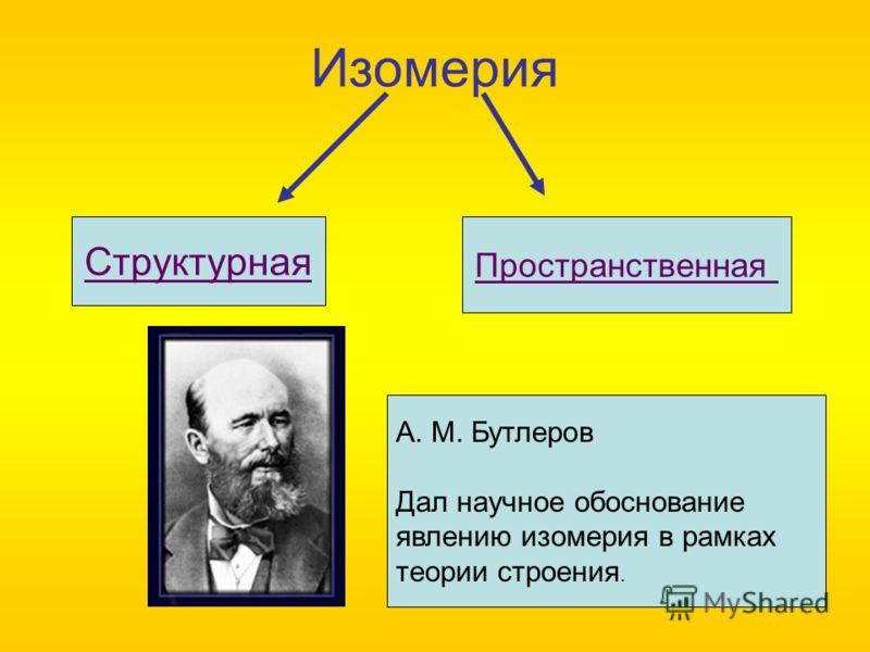 Изомерия Структурная Пространственная А. М. Бутлеров Дал научное обоснование явлению изомерия в рамках теории строения.