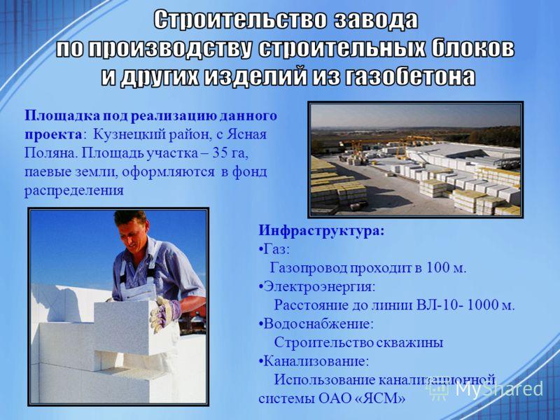 Площадка под реализацию данного проекта: Кузнецкий район, с Ясная Поляна. Площадь участка – 35 га, паевые земли, оформляются в фонд распределения Инфраструктура: Газ: Газопровод проходит в 100 м. Электроэнергия: Расстояние до линии ВЛ-10- 1000 м. Вод