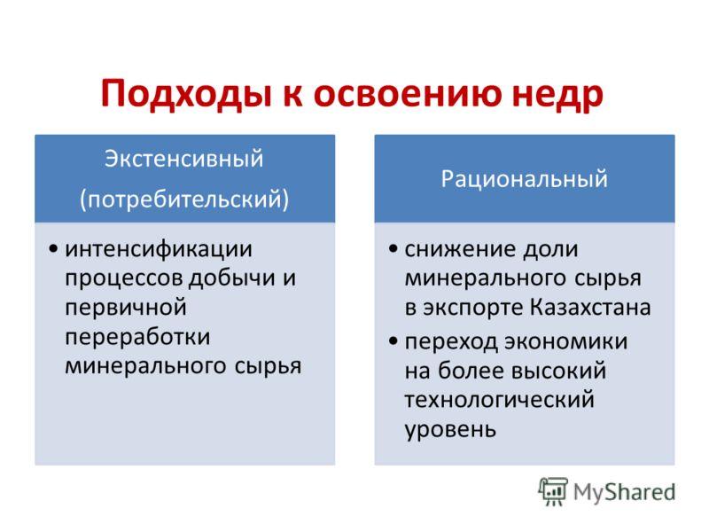 Подходы к освоению недр Экстенсивный (потребительский) интенсификации процессов добычи и первичной переработки минерального сырья Рациональный снижение доли минерального сырья в экспорте Казахстана переход экономики на более высокий технологический у
