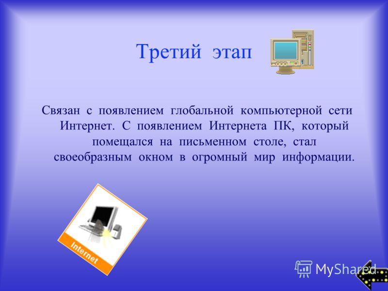Третий этап Связан с появлением глобальной компьютерной сети Интернет. С появлением Интернета ПК, который помещался на письменном столе, стал своеобразным окном в огромный мир информации.