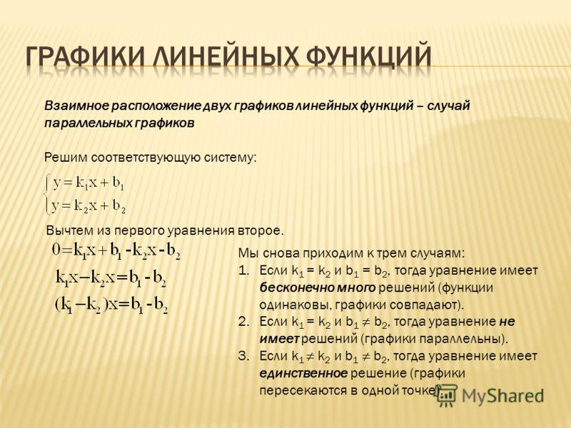 Взаимное расположение двух графиков линейных функций – случай параллельных графиков Решим соответствующую систему: Вычтем из первого уравнения второе. Мы снова приходим к трем случаям: 1.Если k 1 = k 2 и b 1 = b 2, тогда уравнение имеет бесконечно мн