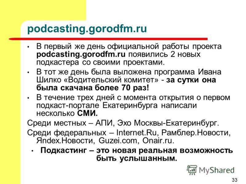 33 podcasting.gorodfm.ru В первый же день официальной работы проекта podcasting.gorodfm.ru появились 2 новых подкастера со своими проектами. В тот же день была выложена программа Ивана Шилко «Водительский комитет» - за сутки она была скачана более 70