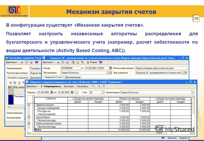 Механизм закрытия счетов 15 В конфигурации существует «Механизм закрытия счетов». Позволяет настроить независимые алгоритмы распределения для бухгалтерского и управленческого учета (например, расчет себестоимости по видам деятельности (Activity Based