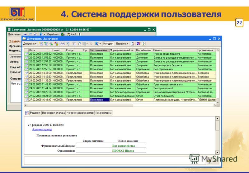 22 4. Система поддержки пользователя