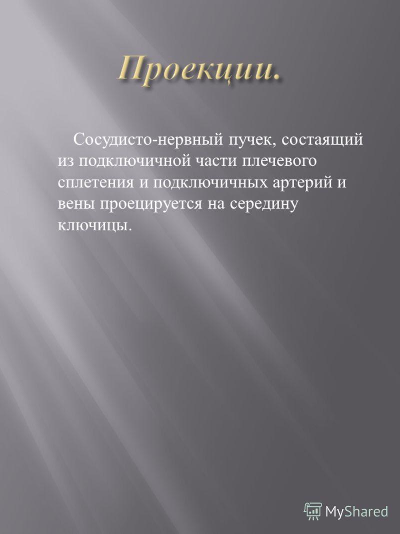 Сосудисто-нервный пучек, состаящий из подключичной части плечевого сплетения и подключичных артерий и вены проецируется на середину ключицы.
