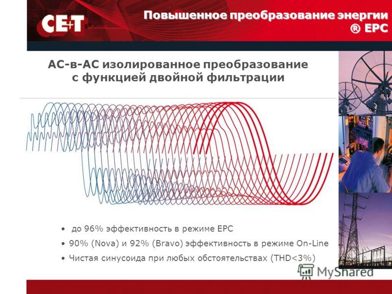 Повышенное преобразование энергии ® EPC AC-в-AC изолированное преобразование с функцией двойной фильтрации до 96% эффективность в режиме EPC 90% (Nova) и 92% (Bravo) эффективность в режиме On-Line Чистая синусоида при любых обстоятельствах (THD