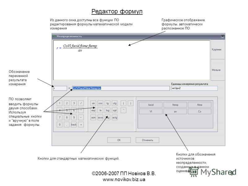 ©2006-2007 ПП Новіков В.В. www.novikov.biz.ua 8 Редактор формул Из данного окна доступны все функции ПО редактирования формулы математической модели измерения Обозначение переменной результата измерения Графическое отображение формулы, автоматически